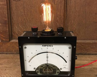 Vintage volt meter table lamp