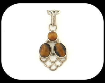 Tiger's Eye 3 Stone Design 925 Sterling Silver PENDANT