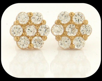 New 14K Solid Yellow Gold Fancy / Mens Cluster CZ Cubic Zirconia Stud EARRINGS