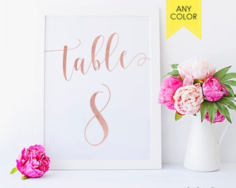 Rose gold table numbers for wedding Table number Rustic table numbers Printable table numbers x Custom table numbers cards Rose gold decor