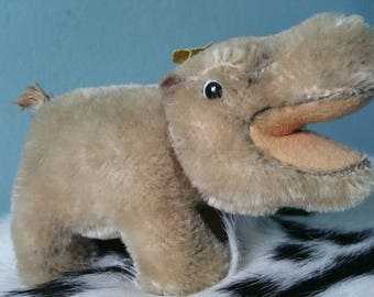 Adorable Steiff stuffed hippo! Collectible vintage Steiff stuffed animal 1950s