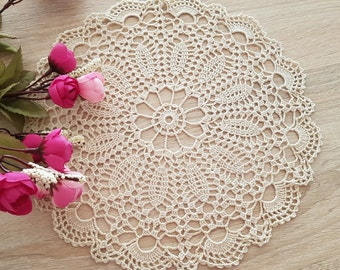 Crochet White Round Doily White cream Centerpiece Home decor table decor made in Lithuania