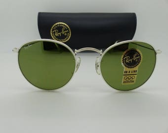 Ray Ban B&L W1294 Round Metal Silver RB-3 Green 50mm Sunglasses