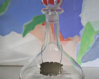 Vintage Signed Orrefors Crystal Decanter with Scotch Label