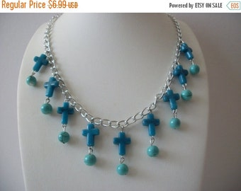 ON SALE Retro Silver Tone Links Turquoise Blue Plastic Beads Necklace 102216