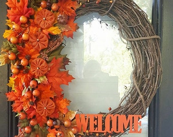 Welcome Fall Grapevine Wreath