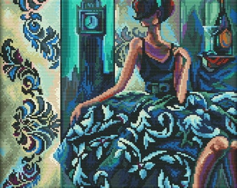 Cross Stitch Kit by RTO - Trish Biddle - Glamorous Women in Fabulous Places.