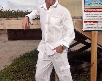 AVI Organic Cotton Elasticized Waist 6 Pockets Nautical Long Men's Cargo Pants