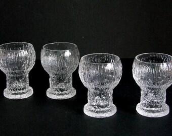 Timo Sarpaneva Iittala Finland vintage 70s set of 4 KEKKERIT shot glasses ice textured glass Modernist Finnish Nordic Scandinavian design