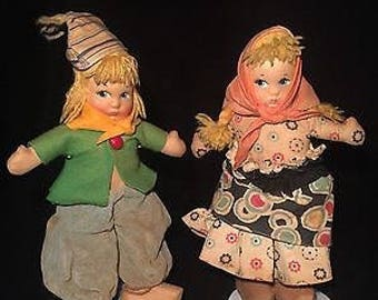 c.1960 Pair Of Hard Molded Face Mask DUTCH CLOTH DOLLS In Original Garb
