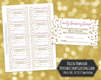 Candy Guessing Game for Baby Shower Printable Cards Pink Gold Confetti Instant Digital Download Jelly Bean Guessing Game