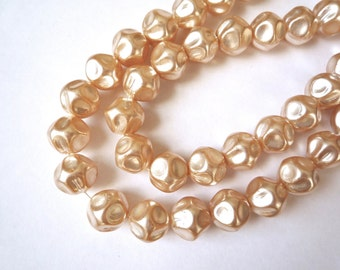 40 large baroque glass pearls. 13 mm cream colored vintage pearls, Unusual beige glass pearls,