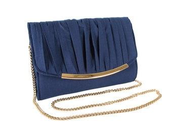 Navy blue evening clutch