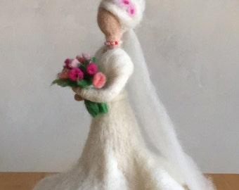 Needle Felted Bride  Needle Felted Figure  Art Doll  Waldorf Inspired Doll