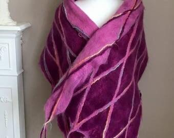 Wool Felted Scarf  Wool Felted Shawl  Mother's Day Gift   Wool Felted Scarf with Tassels  Tassel Scarf &Shawl