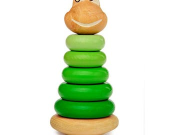 Frog pyramid - Learning Toy - Montessori toddler toy - Toddler birthday gift - Wooden toy - Educational toy