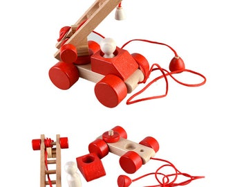 Red car on a string - Learning Toy - Montessori toddler toy - Toddler birthday gift - Wooden toy - Educational toy
