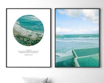 Set of 2 Prints, Print Set, Ocean Print, Coastal Print, Waves, Beach, Beach Photos, Ocean, Sea, Water, Australian, Poster, Bondi Beach