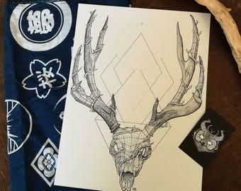 Stag skull (polydot) - PRINT A4