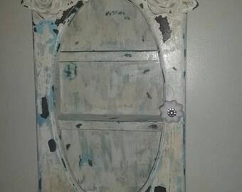 Shabby wall cabinet, curio cabinet.