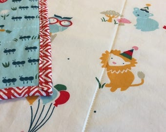 Organic Gender Neutral Baby Quilt, Organic Baby Blanket, Baby Playmat, Circus, Animals, Elephants, Lions, Party, Birch Organics