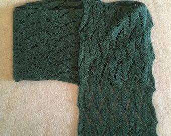 Lace scarf, hand-knit, green wool and silk