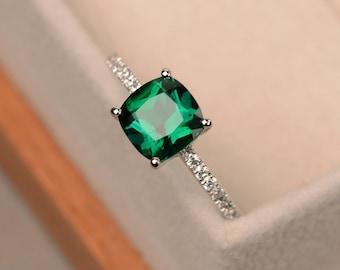 Emerald ring, engagement ring, green gemstone ring, cushion cut emerald, sterling silver