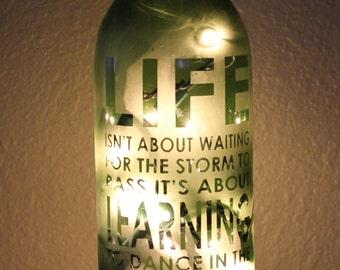 Lighted Etched Wine Bottles