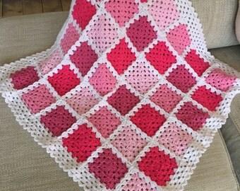 Handmade crochet granny square blanket