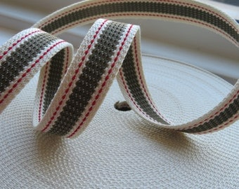 PR2600-3-25 Preppy Webbing 25 mm  | Double Stitches | Stripes | Japanese Import | 2 colors available