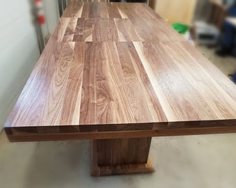Walnut Dining Table Extendable, Double Pedestal Table
