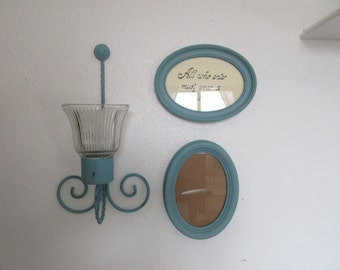 Vintage Aqua Distressed Candle Sconce with Oval Picture Frames