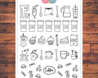 Coffee Planner Stickers, Doodle Planner Stickers, Coffee Date Stickers, Journal Stickers, Cappuccino, Latte, Coffee to go (C010)