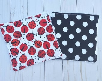 Ladybug baby washcloths- set of 2, lady bug baby, baby shower gift girl,  reusable wipes, cloth wipes, wash cloths, bath accessories, infant