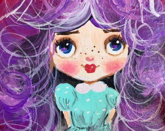 Aceo original acrylic mini art cute girl with purple hair painting