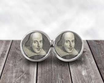 Shakespeare Earrings, William Shakespeare, 12mm Stud Earrings, Shakespeare Jewelry, Romeo and Juliet, Shakespeare Jewelry, Literary Gifts
