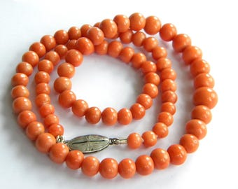 antique necklace genuine CORAL beads necklace ~ old coral ~ inA2596