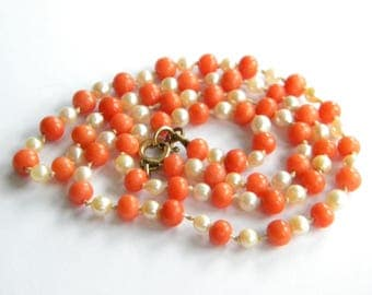 vintage genuine CORAL beads necklace ~ freshwater pearls ~ ~ inA2579