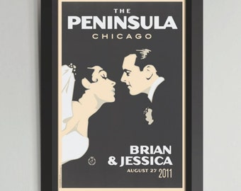 First Kiss Personalized Framed Wedding Art (Large)