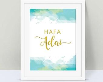 Hafa Adai Chamorro Typography, Chamorro Watercolor Print Art, Faux Gold Guam Island Print, Islander Guam Typography