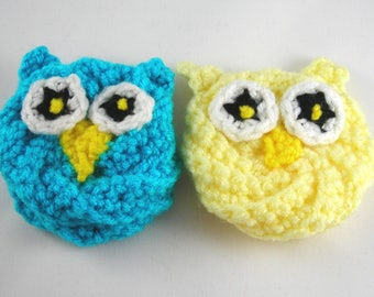Owl Dish Scrubbers/Crochet Dish Scrubby/Blue Dish Scrubby/Yellow Dish Scrubby/Dish Cloth/Dish Rag/Dish Brush/Kitchen/Cleaning/Crochet Sponge