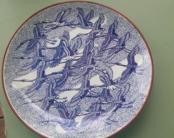 A Vintage 1960's 12 Inch Oriental Blue Heron Platter, By Toyo
