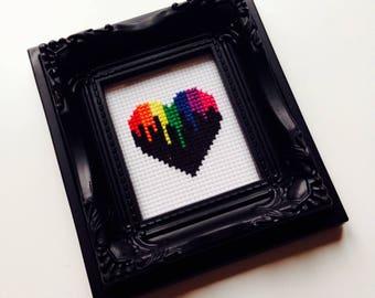 Heart | Rainbow | Pride | Retro | Love | Anniversary | Valentines | Wedding | Gift | Framed | Cross Stitch