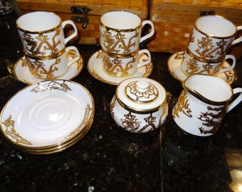 Oriental Dragon Theme Demitasse Cups and Saucers with Creamer and Sugar, Set of Six Cups/Saucers with Cream and Sugar