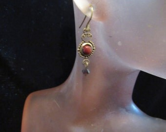 Vintage Pair Of Brown-Burgandy Glass Cab Stone/Beaded Pierced Dangle Earrings