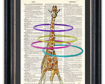 Giraffe with Hula Hoop, Dictionary Art Print, Giraffe Wall Art, Giraffe Art, Giraffe Print, Giraffe Poster, Giraffe Decor