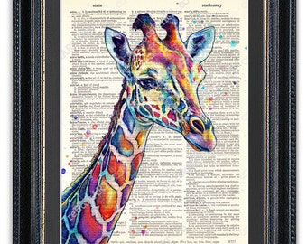Watercolor Giraffe, Dictionary Art Print, Giraffe Wall Art, Colorful Giraffe Poster