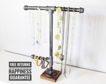 Industrial jewelry stand ⋆ Industrial jewelry hanger ⋆ retail display rack ⋆ necklace closet organizer ⋆ watch holder ⋆ jewelry hook