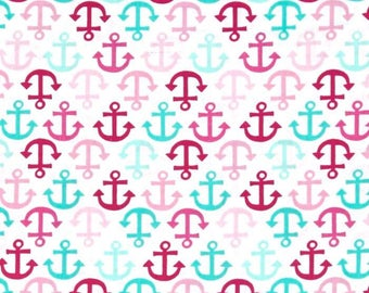 Mint and pink anchors fitted sheet, crib sheet, nursery, crib bedding, under the sea, nautical theme, baby girl