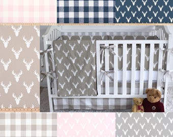 Custom crib bedding, antlers, buffalo plaid, woodland nursery  , gender neutral, baby girl, baby boy, crib bumpers, skirt, sheet, quilt